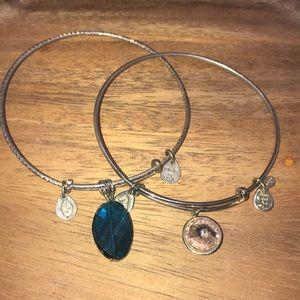 Alex & Ani charm bracelet green and pink faux gem